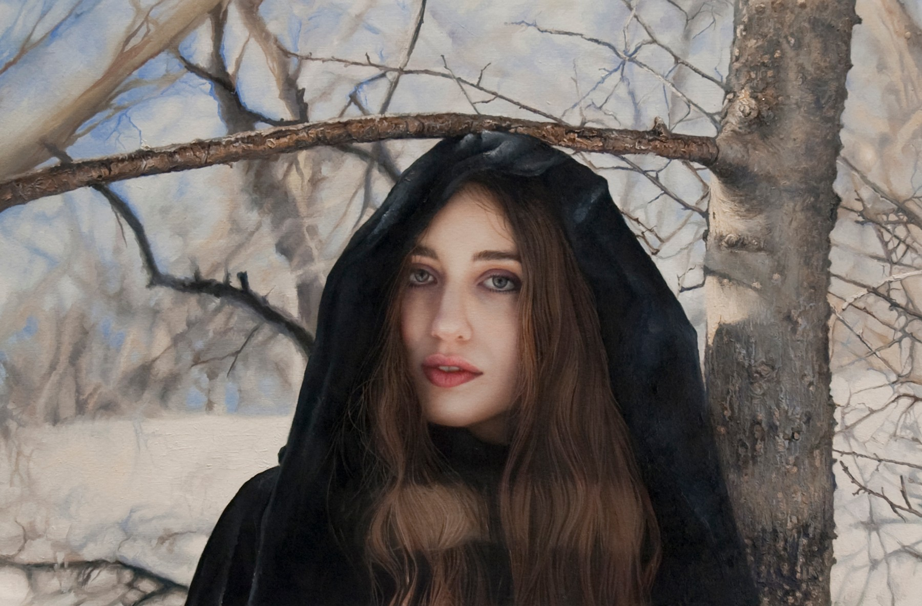 Untitled; Lizzie in the snow, 12 x 18 inches, Oil on paper mounted on wood, 2010 (12) (d) - 2